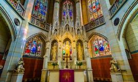 Vetro macchiato della basilica tutta la chiesa Schlosskirche Wittenberg Germania del castello dei san Immagini Stock