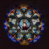 Vetro macchiato di Gesù in cattedrale fotografia stock libera da diritti