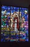 Vetro macchiato di Gesù che predica la parola Immagine Stock Libera da Diritti