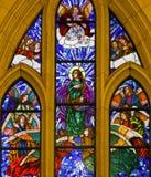 Vetro macchiato di St John l'evangelista nella cattedrale di Madrid Immagini Stock
