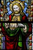 Vetro macchiato - Jesus Christ ed il cuore sacro Fotografia Stock Libera da Diritti