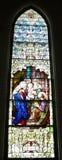 Vetro macchiato Mary Joseph Jesus attuale fotografia stock libera da diritti