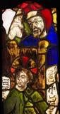 Vetro macchiato nel monastero di Batalha - Gesù nel tempio Immagini Stock Libere da Diritti