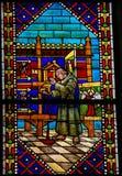 Vetro macchiato nella cattedrale di Leon, Spagna Immagini Stock