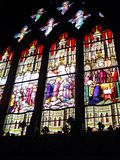 Vetro macchiato nella cattedrale di Notre Dame Fotografia Stock Libera da Diritti