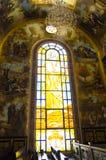Vetro macchiato nella chiesa copta Immagine Stock