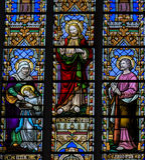 Vetro macchiato - St Anna, Gesù ed il cuore di Sacret ed A Immagini Stock