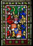 Vetro macchiato - stemma nella cattedrale di Praga fotografia stock