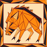 Vetro macchiato stilizzato dell'oroscopo cinese - maiale Fotografia Stock Libera da Diritti