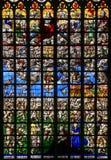 Vetro macchiato - ultimo giudizio nella cattedrale di Bruxelles fotografia stock