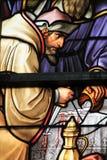 Vetro macchiato - vetro macchiato antisemita nella cattedrale di Bruxelles fotografia stock