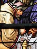 Vetro macchiato - vetro macchiato antisemita nella cattedrale di Bruxelles immagini stock