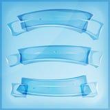 Vetro o Crystal Banners And Ribbons trasparente Fotografia Stock Libera da Diritti