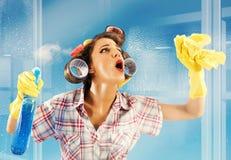 Vetro pulito della casalinga immagini stock libere da diritti