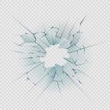 Vetro rotto Foro realistico di distruzione di struttura incrinata della finestra in vetro nocivo trasparente Vetro rotto realisti royalty illustrazione gratis