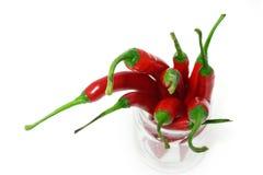 Vetro rovente del pepe di peperoncini rossi Fotografie Stock