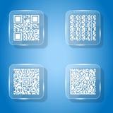 Vetro semplice di codice del qr delle icone Immagini Stock Libere da Diritti