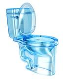 Vetro trasparente blu del WC Immagine Stock