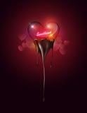 Vetro trasparente del cuore che immerge cioccolato fuso sul fondo del bokeh del cuore con il concetto dell'innamorato per il gior Fotografia Stock Libera da Diritti