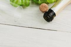 Vetro trasparente e bottiglia aperta con sughero vicino al mazzo di uva verde matura fresca vicino sulle vecchie plance bianche d immagine stock