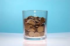 Vetro trasparente soddisfacente di soldi Immagine Stock Libera da Diritti