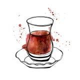 Vetro turco del tè dell'acquerello di vettore Immagini Stock Libere da Diritti