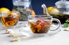 Vetro verde del tè del oolong della tazza Fotografia Stock Libera da Diritti