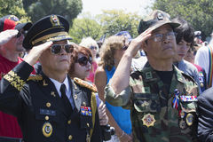 Vets saluting at Los Angeles National Cemetery Annual Memorial Event, May 26, 2014, California, USA Royalty Free Stock Photography