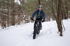 Vette Biking in het Bos Stock Foto