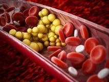 Vette cellen die de bloedstroom binnen menselijke ader blokkeren 3D Illustratie stock illustratie