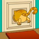 Vette kat geplakte pop-art vectorillustratie stock illustratie