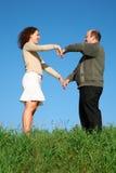 Vette man en vrouw stock afbeelding