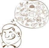 Vette Mens die voor Voedsel dromen vector illustratie