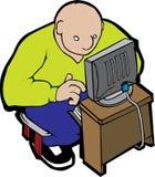 Vette mens en computer Stock Afbeeldingen