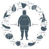 Vette mens met gezond voedsel rond hem Gezonde Eetgewoonten royalty-vrije illustratie