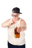 Vette mens met sigaar en fles bier Royalty-vrije Stock Fotografie