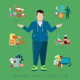 Vette ongezonde infographic de levensstijlvector van het mensencijfer stock illustratie