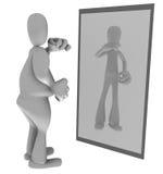 Vette persoon die in spiegel kijkt Stock Foto's