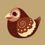Vette vogel leuke abstracte voorhistorische kleur Royalty-vrije Stock Afbeeldingen