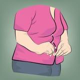 Vette vrouw die kleren dichtknopen Het verliesconcept van het gewicht Vector illustratie royalty-vrije stock fotografie