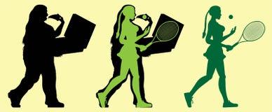 Vette vrouw die met tennis en verliezend gewicht uitoefenen stock illustratie