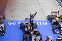 Vettel behauptet Sieg am Malaysian F1 Stockbild