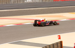 Vettel de Red Bull que compete no F1, 20 abril 2012 Foto de Stock Royalty Free