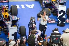 Vettel demanda la victoria en el Malaysian F1 Imagen de archivo libre de regalías