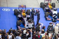 Vettel en Webber eisen P1 & 2 bij Maleise F1 Stock Foto