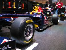 Vettel's Red Bull in Geneva. Closeup of the Red Bull RB5 thet Mark Webber and Sebastian Vettel and Lewis Hamilton raced with in the 2009 Formula 1 season. The Royalty Free Stock Image