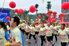 Vettig nam ook aan de marathon deel Stock Fotografie