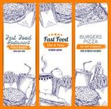 Vettige snel voedsel en koffieschets Royalty-vrije Stock Afbeeldingen