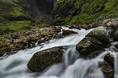 Impressive waterfall in a green environment. royalty free stock images