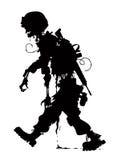 Vettor podre do soldado da silhueta do zombi Imagens de Stock Royalty Free